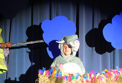 Megan Beisterfield as Horton the Who, sits on a bird's nest surrounded by storm clouds during the Thursday performance of Seussical by the Coyote Ridge Elementary School drama club. April 15, 2010 Staff photo/David R. Jennings
