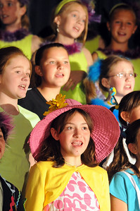Ashleigh Salazar, portraying Mrs. Mayor of Whoville, sings with the cast during the Thursday performance of Seussical by the Coyote Ridge Elementary School drama club. April 15, 2010 Staff photo/David R. Jennings