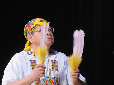 Vera Howell, Seven Falls Indian Dancers, performs a Women's  traditional dance during  the Children's Library's Wonderful Wednesdays at the Audi the Mamie Doud Eisenhower Public Library. June 8, 2011 staff photo/David R. Jennings