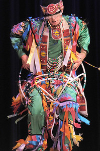 Derek Howell, a Pawnee with the Seven Falls Indian Dancers, performs a Pueblo hoop dance during  the Children's Library's Wonderful Wednesdays at the Audi the Mamie Doud Eisenhower Public Library. June 8, 2011 staff photo/David R. Jennings