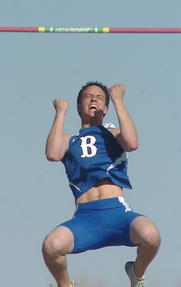 be0402trak01<br /> Broomfeild's Isaac Wilson celebrates after clearing the 13 foot mark in the pole vault during the Broomfield Shoot Out Track Meet at Elizabeth Kennedy Stadium on Friday..<br /> April 1, 2011<br /> staff photo/David R. Jennings