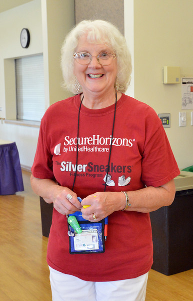 Ilene Niehoff arrived at the 10th Anniversary celebration of the Silver Sneakers program wearing her Silver Sneakers t-shirt and other items at the Broomfield Community Center.<br /> <br /> July 20, 2012<br /> staff photo/ David R. Jennings