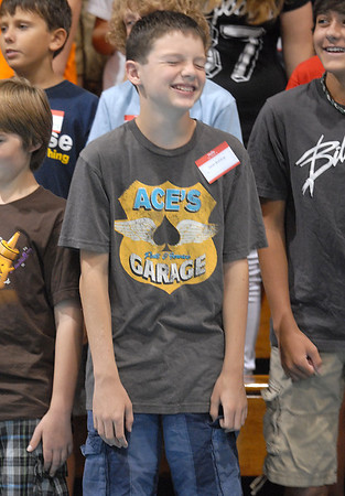 Sean Bohling smiles during a game in the gym at Westlake Middle School's 6th grade orientation on Thursday.<br /> August 11, 2011<br /> staff photo/ David R. Jennings
