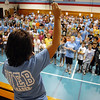 Math teacher Jayme Schroder talks to the 6th grade class during Westlake Middle School's 6th grade orientation on Thursday.<br /> August 11, 2011<br /> staff photo/ David R. Jennings