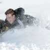 "Jimi Misztal sleds down ""hospital hill"" with his son Grant, 11, on Saturday near Oak Circle and Miramonte Blvd.<br /> February 4, 2012<br /> staff photo/ David R. Jennings"