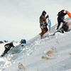 """Sledders make the hike to the top of """"hospital hill"""" near Oak Circle and Miramonte Blvd. on Saturday.<br /> February 4, 2012<br /> staff photo/ David R. Jennings"""