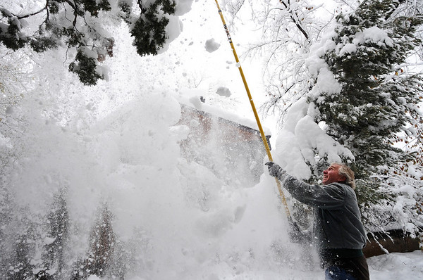 SNOW105<br /> Jack Williams uses an apple-picking pole to shake snow off tree branches in his yard on Thursday morning.<br /> Photo by Marty Caivano/Camera/Oct. 29, 2009