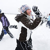 Emma Leenerman, 16, center throws snowballs during the snowball fight organized by Broomfield High School students at the Broomfield County Commons on Thursday<br /> <br /> October 29, 2009<br /> Staff photo/David R. Jennings