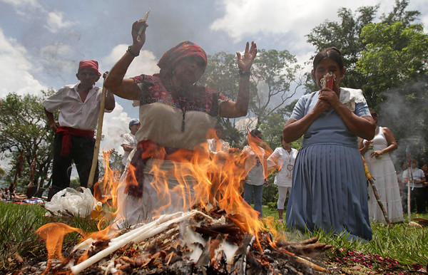 El Salvador Summer Solstice.JPG Mayan descendants pray during a ceremony in honor of the upcoming summer solstice at the Mayan archeological site of Tazumal in Chalchuapa, El Salvador, Sunday June 19, 2011.  The summer solstice, which happens on Tuesday, marks the longest day of the year in the Northern Hemisphere, and according to Mayan Priest Jose Erenesto Campos, the Mayans hold ceremonies to help balance the energy of mother earth and ask for abundant crops. In El Salvador, the solstice in June is referred to as winter solstice because it happens during the rainy season, which is considered the country's winter season.  (AP Photo/Luis Romero)