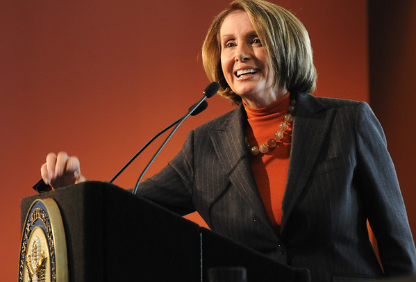 Speaker of the House Nancy Pelosi answers questions after a round table discussion about the Hwy. U.S. 36 transportation corridor at the 1stBank Center on Monday.<br /> <br /> March 1, 2010<br /> Staff photo/David R. Jennings