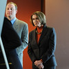 Speaker of the House Nancy Pelosi and Congressman Jared Polis watch as Broomfield Mayor Pat Quinn uses a presentation board to answer a questions about the Hwy. U.S. 36 transportation corridor at the 1stBank Center on Monday.<br /> <br /> March 1, 2010<br /> Staff photo/David R. Jennings