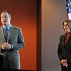 Congressman Jared Polis, left, and Speaker of the House Nancy Pelosi answer questions about the Hwy. U.S. 36 transportation corridor at the 1stBank Center on Monday.<br /> <br /> March 1, 2010<br /> Staff photo/David R. Jennings