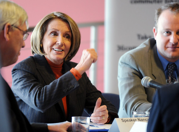 Speaker of the House Nancy Pelosi makes a point during the round table discussion about the Hwy. U.S. 36 transportation corridor with Broomfield Mayor Quinn, left, and Congressman Jared Polis, right, at the 1stBank Center on Monday.<br /> <br /> March 1, 2010<br /> Staff photo/David R. Jennings