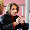 Speaker of the House Nancy Pelosi makes a point during the round table discussion about the Hwy. U.S. 36 transportation corridor with Broomfield Mayor Quinn, left, at the 1stBank Center on Monday.<br /> <br /> <br /> March 1, 2010<br /> Staff photo/David R. Jennings