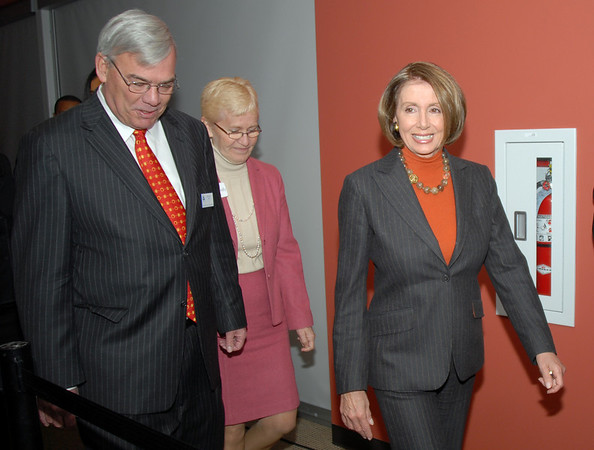 Speaker of the House Nancy Pelosi, right, walks in with Broomfield Mayor Pat Quinn, left, and Westminster Mayor Nancy McNally to a round table discussion about the Hwy. U.S. 36 transportation corridor at the 1stBank Center on Monday.<br /> <br /> March 1, 2010<br /> Staff photo/David R. Jennings