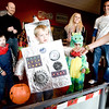 Tyler Roach, age 5, dressed in his robot costume, prepares to toss bean bags for candy during the Spooktacular event at the Broomfield First Bank Center on Saturday.<br /> <br /> photo/ Matt Kelley