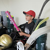 Dax White, 8, checks out a bat while looking through donated sporting equipment at A Precious Child on Thursday.<br /> <br /> July 7, 2011<br /> staff photo/ David R. Jennings