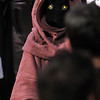 A Jawa portrayed by a member of the Rebel Legion waits to pose for pictures on stage during the Star Wars fundraiser for the Broomfield Public Library Foundation on Sunday at the Audi. <br /> <br /> August 7, 2011<br /> staff photo/ David R. Jennings