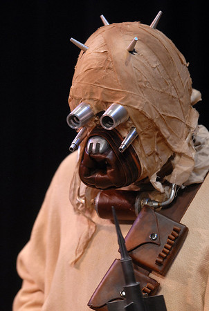 A member of the Rebel Legion dressed as a Sand Person for the Star Wars fundraiser for the Broomfield Public Library Foundation on Sunday at the Audi. <br /> <br /> August 7, 2011<br /> staff photo/ David R. Jennings