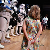 Ashley Acton, 5, waits to get autographs from members of the 501st Legion Mountain Garrison at the Star Wars fundraiser for the Broomfield Public Library Foundation on Sunday at the Audi. <br /> <br /> August 7, 2011<br /> staff photo/ David R. Jennings
