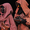 Members of the Rebel Legion dressed as Jawas meet the public on stage at the Star Wars fundraiser for the Broomfield Public Library Foundation on Sunday at the Audi. <br /> <br /> August 7, 2011<br /> staff photo/ David R. Jennings