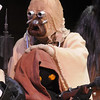 A Rebel Legion member dressed as a Sand Person rubs the head of a fellow member dressed as a Jawa while on stage for the Star Wars fundraiser for the Broomfield Public Library Foundation on Sunday at the Audi. <br /> <br /> August 7, 2011<br /> staff photo/ David R. Jennings