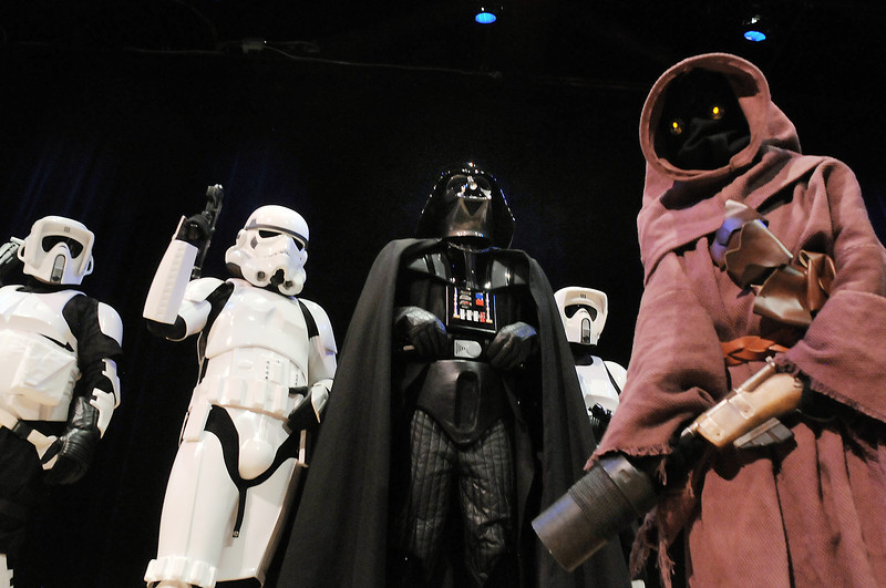 Members of both the 501st Legion Mountain Garrison and the Rebel Legion pose for pictures at the Star Wars fundraiser for the Broomfield Public Library Foundation on Sunday at the Audi. <br /> <br /> August 7, 2011<br /> staff photo/ David R. Jennings