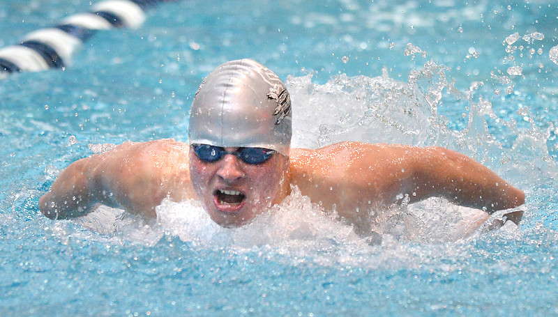 Silver Creek's Chase Lis swimming in the consulation finals of the 100 yard butterfly during the state 4A  Boys Swim and Dive Championships at Veterans Memoirial Pool in Thornton on Saturday.<br /> <br /> May 19, 2012 <br /> staff photo/ David R. Jennings