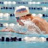 Longmont's Connor Dwyer swimming in the 200 yard IM during the state 4A  Boys Swim and Dive Championships at Veterans Memoirial Pool in Thornton on Saturday.<br /> <br /> May 19, 2012 <br /> staff photo/ David R. Jennings