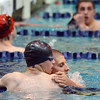 Broomfield's Blake Logan, left,  and Silver Creek's Tyler Lis hug after the 500 yard freestyle consulation finals during the state 4A  Boys Swim and Dive Championships at Veterans Memoirial Pool in Thornton on Saturday.<br /> <br /> May 19, 2012 <br /> staff photo/ David R. Jennings