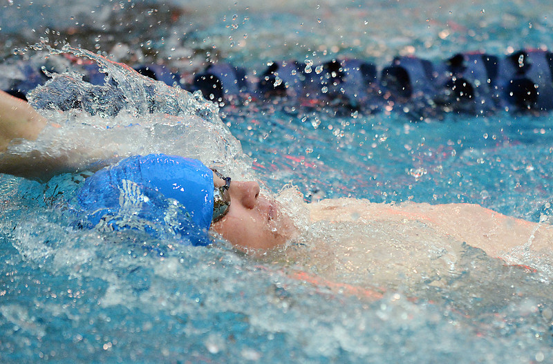 Broomfield's Andrew Hahn swimming in the 100 yard backstroke consulation finals during the state 4A  Boys Swim and Dive Championships at Veterans Memoirial Pool in Thornton on Saturday.<br /> <br /> May 19, 2012 <br /> staff photo/ David R. Jennings