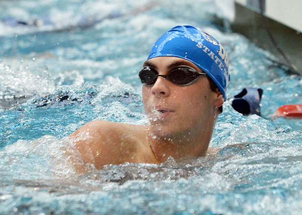Broomfield's Kris Kerr looks at his time in the 50 yard freestyle consulation finals during the state 4A  Boys Swim and Dive Championships at Veterans Memoirial Pool in Thornton on Saturday.<br /> <br /> May 19, 2012 <br /> staff photo/ David R. Jennings