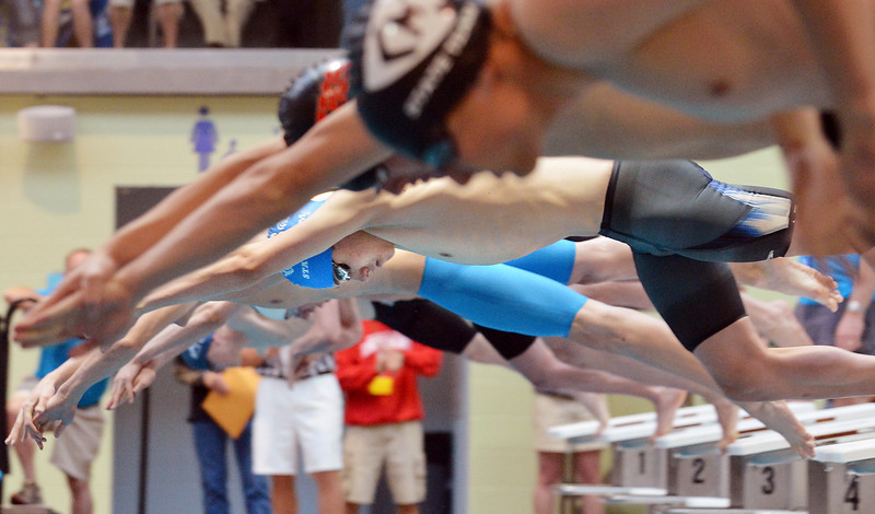 Broomfield's Martin Wallace launches off the bocks for the 200 yard freestyle finals during the state 4A  Boys Swim and Dive Championships at Veterans Memoirial Pool in Thornton on Saturday.<br /> <br /> May 19, 2012 <br /> staff photo/ David R. Jennings