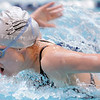 Silver Creek's Kylie Rembert swims the butterfly in the 200 yard IM at the 4A state swimming championships on Saturday at the Veterans Memorial Aquatics Center in Thornton.<br /> February 11, 2012<br /> staff photo/ David R. Jennings
