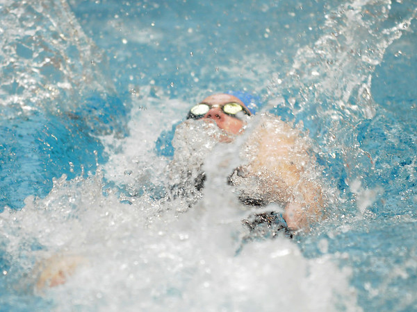 Broomfield's Katalena Laufasa-Duncan swims the backstroke in the 200 yard medey relay at the 4A state swimming championships on Saturday at the Veterans Memorial Aquatics Center in Thornton.<br /> February 11, 2012<br /> staff photo/ David R. Jennings