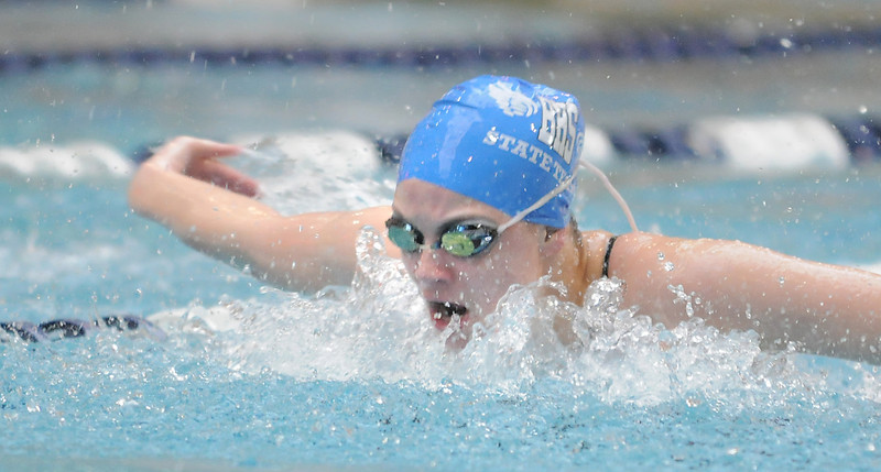 Broomfield's Katalena Laufasa-Duncan swims the butterfly in the 200 yard IM at the 4A state swimming championships on Saturday at the Veterans Memorial Aquatics Center in Thornton.<br /> February 11, 2012<br /> staff photo/ David R. Jennings