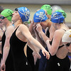 Broomfield's Kendall Wingfield prepares for the first leg of the 200 yard frestyle relay at the 4A state swimming championships on Saturday at the Veterans Memorial Aquatics Center in Thornton.<br /> February 11, 2012<br /> staff photo/ David R. Jennings