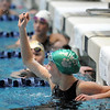 Niwot's Marjorie Driscoll cheers after finishing the 50 yard freestyle at the 4A state swimming championships on Saturday at the Veterans Memorial Aquatics Center in Thornton.<br /> February 11, 2012<br /> staff photo/ David R. Jennings
