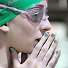 Niwot's Elise Cranny prepares to swim in the 400 yard relay at the 4A state swimming championships on Saturday at the Veterans Memorial Aquatics Center in Thornton.<br /> February 11, 2012<br /> staff photo/ David R. Jennings