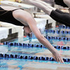 Silver Creek's Amanda Siedem launches off the blocks for the 100 yard freestyle at the 4A state swimming championships on Saturday at the Veterans Memorial Aquatics Center in Thornton.<br /> February 11, 2012<br /> staff photo/ David R. Jennings