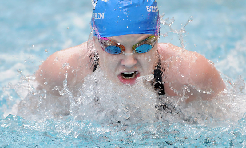 Broomfeild's Heather Shaver swims the breaststroke in the 200 yard medey relay at the 4A state swimming championships on Saturday at the Veterans Memorial Aquatics Center in Thornton.<br /> February 11, 2012<br /> staff photo/ David R. Jennings