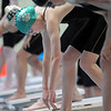 Niwot's Marjorie Driscoll prepares to swim in the 50 yard freestyle at the 4A state swimming championships on Saturday at the Veterans Memorial Aquatics Center in Thornton.<br /> February 11, 2012<br /> staff photo/ David R. Jennings