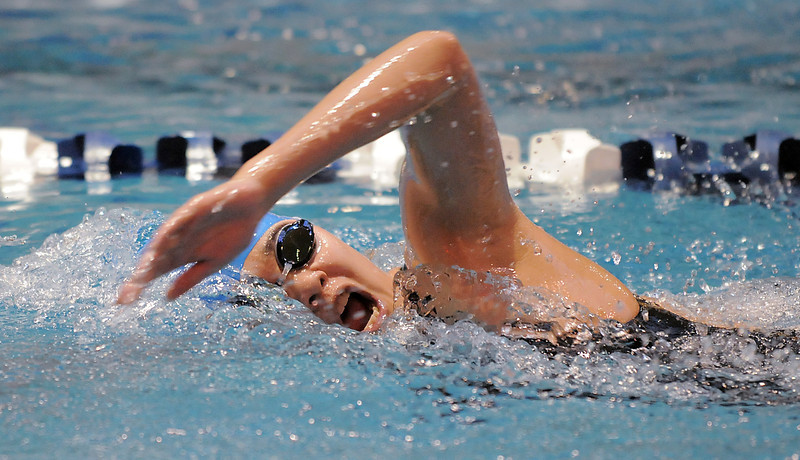 Broomfield's Alaina Gossett swimming in the 500 yard freestyle at the 4A state swimming championships on Saturday at the Veterans Memorial Aquatics Center in Thornton.<br /> February 11, 2012<br /> staff photo/ David R. Jennings