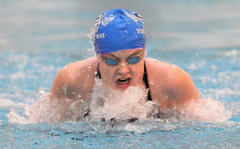 Broomfield's Heather Shaver swims in the 100 yard breaststroke at the 4A state swimming championships on Saturday at the Veterans Memorial Aquatics Center in Thornton.<br /> February 11, 2012<br /> staff photo/ David R. Jennings