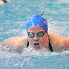 Broomfield's Elizabeth Peterson swimming in the 100 yard butterfly at the 4A state swimming championships on Saturday at the Veterans Memorial Aquatics Center in Thornton.<br /> February 11, 2012<br /> staff photo/ David R. Jennings