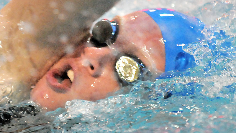 Broomfield's Anissa Mata swims in the 400 yard freestyle relay at the 4A state swimming championships on Saturday at the Veterans Memorial Aquatics Center in Thornton.<br /> February 11, 2012<br /> staff photo/ David R. Jennings
