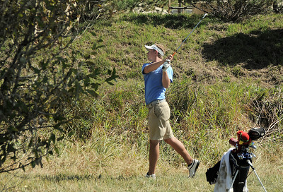 Broomfield's Nick Reisch chips out of the rough of the 6th hole during the state 4A golf tournament at Pelican Lakes Golf course in Windsor on Tuesday. October 4, 2011 staff photo/ David R. Jennings