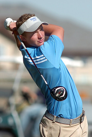 Broomfield's Nick Reisch tees off of the 1st hole during the state 4A golf tournament at Pelican Lakes Golf course in Windsor on Tuesday.<br /> October 4, 2011<br /> staff photo/ David R. Jennings