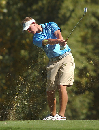 Broomfield's Nick Reisch tees off of the 4th hole during the state 4A golf tournament at Pelican Lakes Golf course in Windsor on Tuesday.<br /> October 4, 2011<br /> staff photo/ David R. Jennings