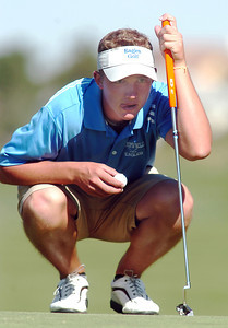 Broomfield's Nick Reisch studies the 3rd green before making a putt during the state 4A golf tournament at Pelican Lakes Golf course in Windsor on Tuesday. October 4, 2011 staff photo/ David R. Jennings